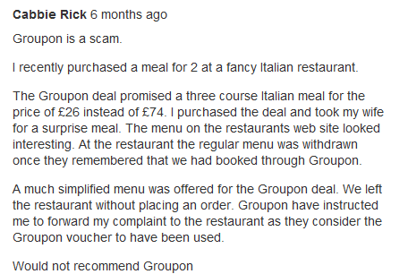 Groupon deals - too good to be true? (3/3)